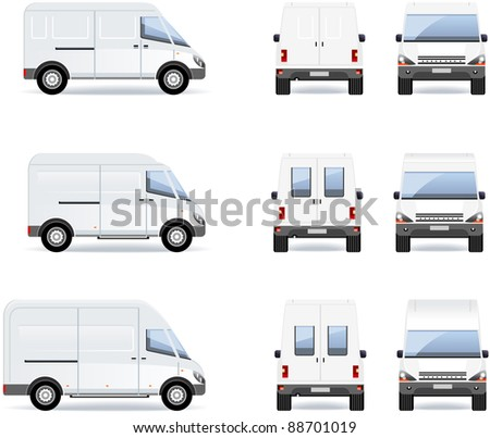 van  set of the car icons in