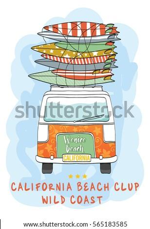 van surf illustration   t shirt