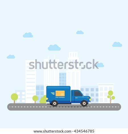 van truck post delivery across
