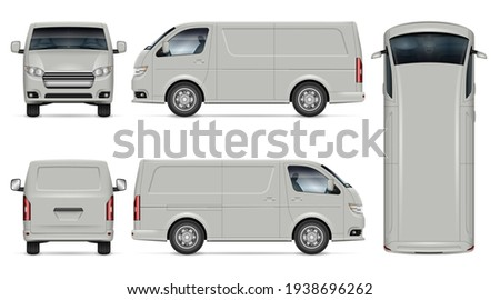 Van vector mockup on white background for vehicle branding, corporate identity. View from side, front, back, top. All elements in the groups on separate layers for easy editing and recolor Stock photo ©