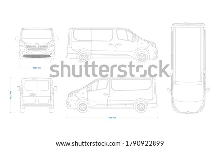Van vector template for car branding and advertising. Light commercial van marketed by multiple brands - Third generation. Truck blueprint. Delivery truck empty template. Blank commercial truck.
