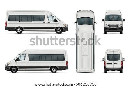 Van vector template. Isolated passenger mini bus for corporate identity and advertising. All layers and groups well organized for easy editing. View from side, front, back and top.