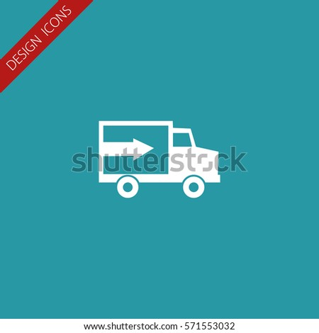 Van With Arrow And Flat Design  Vector Icon.
