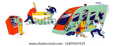 Vandalism and Anger Concept. Teenagers Characters Graffiti Painting on Metro Train, Breaking Bench in Park with Baseball Bat, Paint with Spray on Atm, Teen Violence. Linear People Vector Illustration Foto stock ©