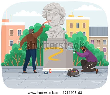 Vandals damaging monument. Bullies in hood and balaclava painting graffiti on a statue in city park stain with paint. Street gangsters and vandalism concept. A man bandit destroy city property Foto stock ©