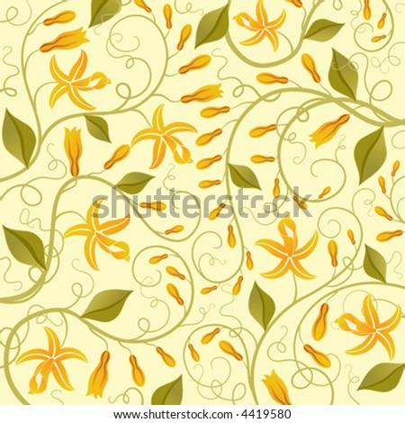Vanilla Flower Picture on Vanilla  Floral Background  Vector Illustration    Stock Vector