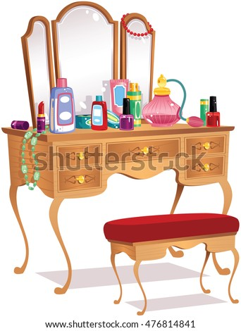 Vanity table and mirrors.