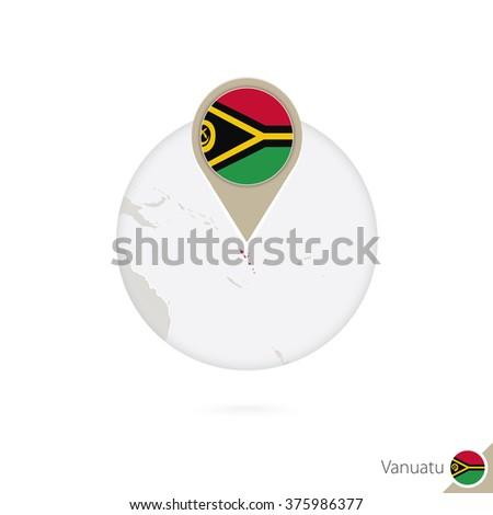 vanuatu map and flag in circle