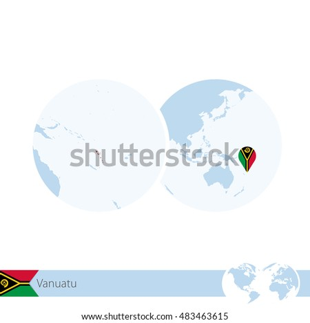 vanuatu on world globe with