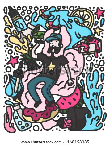 Vape doodle style illustration. Vaping hipster with beard on the cloud. Stock vector