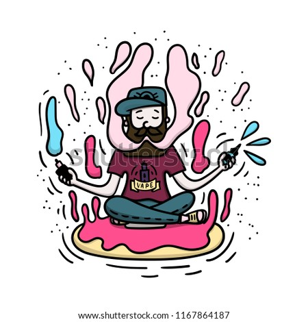 Vape doodle style illustration. Vaping hipster with beard on the donut. Stock vector