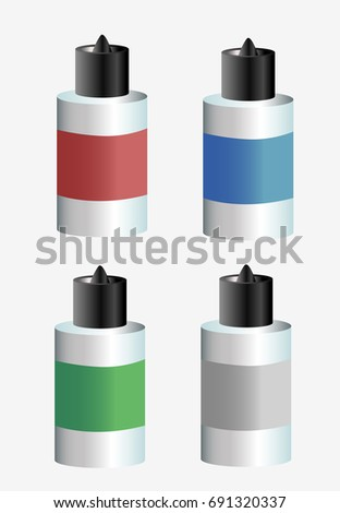 Vape juices for vaping smoke, different flavors. Flat vector stock illustration.