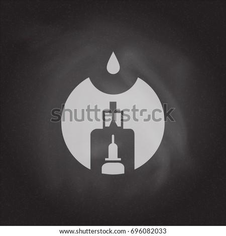 Vape store logo template design on the blackboard background. E-cigarette and e-liquid bottle stamp or T-shirt print. Stock vector