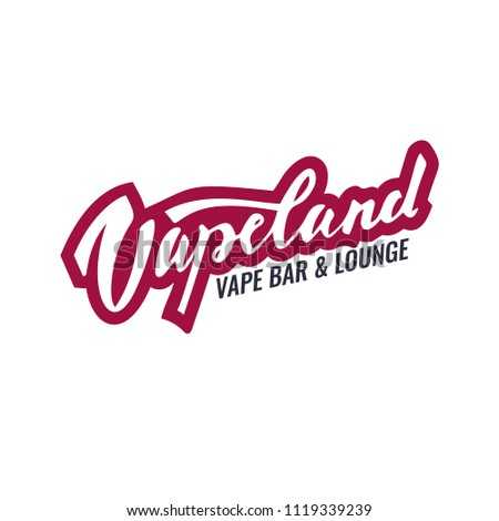 Vapeland lettering logo for vape shop, bar and lounge. Can be used for print, label, emblem, badge, tag. Stock vector