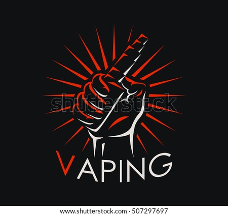 Vaping badge, logo or symbol design concept. Can be used for advertising vape shop, electronic cigarettes store. Vector illustration.