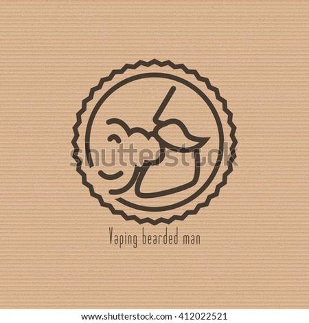 Vaping bearded man circle logo on the cardboard background. Stock vector.