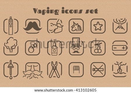 Vaping icons set on the cardboard background. Stock vector.