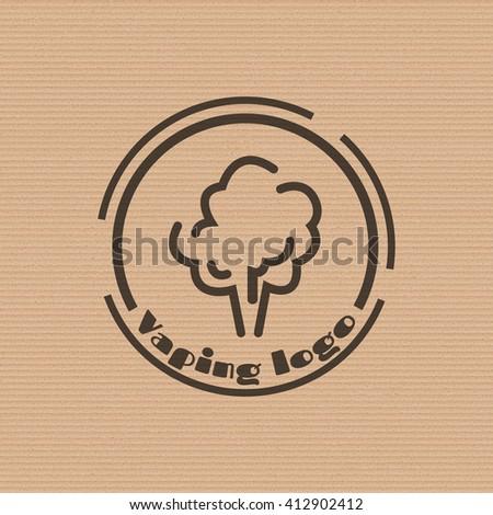 Vaping logo on the cardboard background. Stock vector.