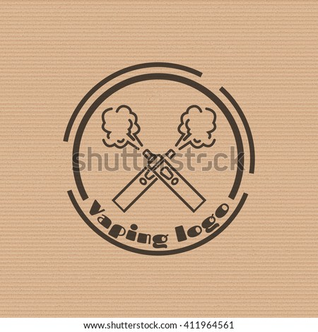 Vaping logo with e-cigarettes crossed on the cardboard background. Stock vector.