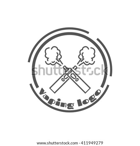 Vaping logo with e-cigarettes crossed. Stock vector.