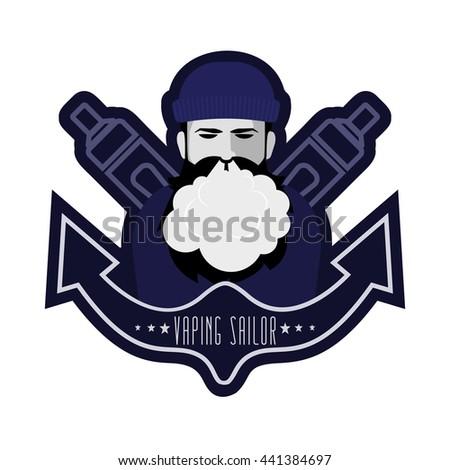 Vaping Sailor. Logo with bearded vaping man, vaporizer and anchor. Stock vector.