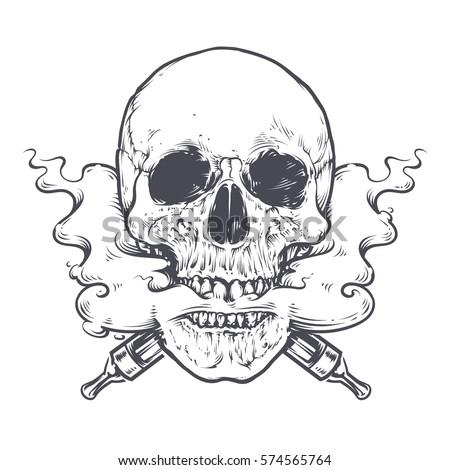 vaping skull art vector