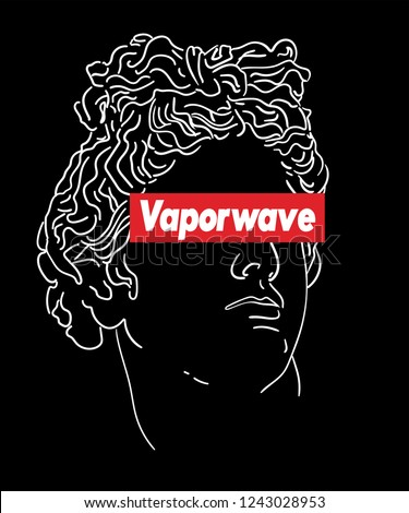 Vaporwave aesthetic t shirt illustration. Typography slogan vector for t shirt printing, Graphic tee and Printed tee. Box Logo