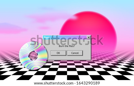 Vaporwave landscape with CD, dialogue window, sun, clouds and checked floor. 80s or 90s style aesthetic art poster with retro computer interface elements and data medium