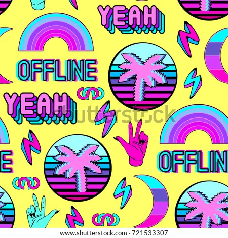 vaporwave seamless pattern with