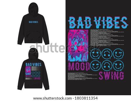 Vaporwave Streetwear Hoodie Abstract with Smile Emoji, Bad Vibes and Mood Swing