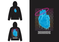 Vaporwave Streetwear Hoodie Angel Heart Vaporwave Design