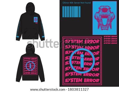 Vaporwave Streetwear Hoodie Phanter Glitch Illustration, System Error Photo stock ©
