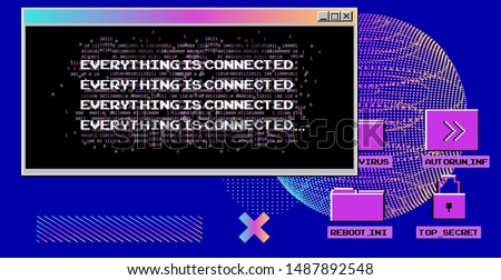 Vaporwave Synthwave 80s-90s retrofuturistic background with opened terminal console, command-line interface of programs. HUD cyberpunk user interface.