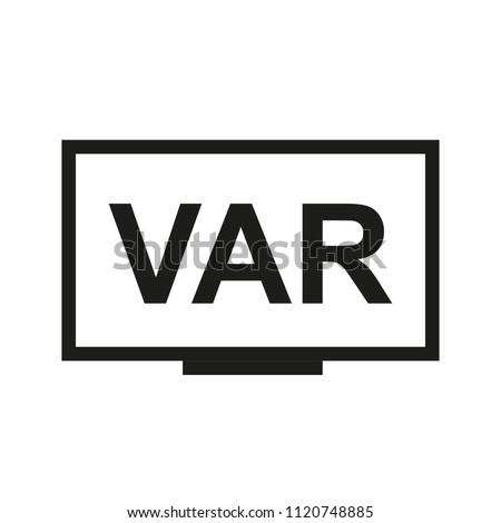 VAR, Video Assistant Referee symbol for soccer or football match on screen or TV. Vector Illustration. Imagine de stoc ©
