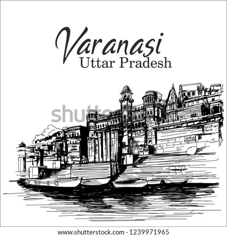 Varanasi Uttar  Pradesh India. ganga ghat sketch Foto stock ©