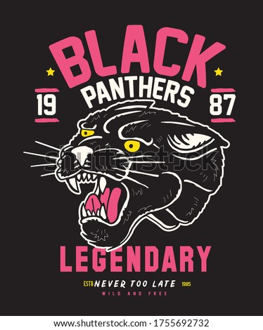 Varcity Collage Team Black Panther Legendary Typography Graphics. T-shirt Printing Design for sportswear apparel. Original wear. Concept in vintage graphic style for print production Poster. Zdjęcia stock ©