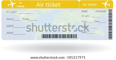 Variant Of Air Ticket Isolated On White. Vector Illustration  Fake Plane Ticket Template