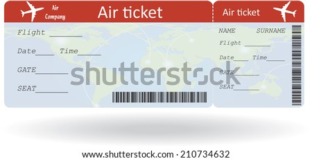 Nice Variant Of Air Ticket Isolated On White. Vector Illustration On Airplane Ticket Template