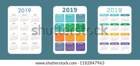 Variants of the pocket calendar for the year. Vector illustration, bright colors, stylish look. Calendar for next year. Calendar for applications, widgets, website, presentations.