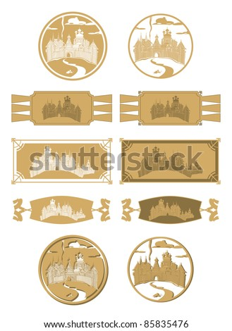 Variation of Russian wooden town, vector