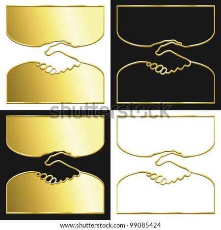 Variations of a handshake symbol in gold.