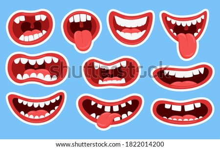 Variations of the mouths of monsters. Funny mouths with teeth and tongue sticking out.Set of stickers for different mouths. Children's color illustration. Vector elements isolated on a blue background