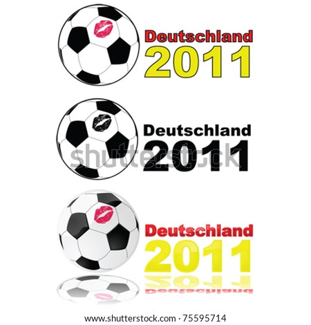 Variations on vector illustration showing a soccer ball with a lipstick mark on it, and the words 'Deutschland 2011' to represent the women's World Cup tournament