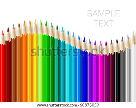Varicolored color pencils set on white background with space for text.