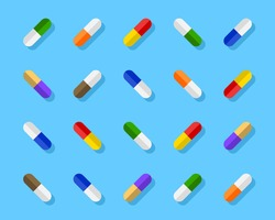 Varied and colorful pills, capsules. Aesthetic assortment and playful arrangement of medicine in different colors. Vector illustration in flat design.
