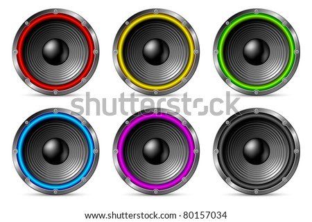 Variegated colorful speakers set isolated on white background.
