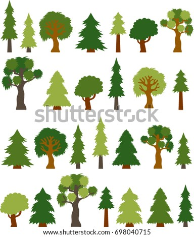 Variety Clip-art Tree Collection, Color, Vector Illustration