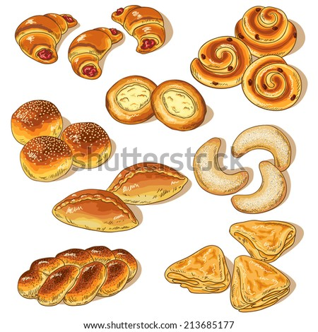 variety of bakery isolated on