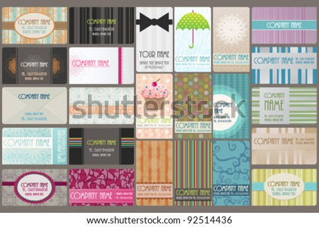 Variety of 24 beautiful editable business cards