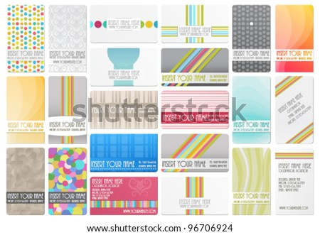Variety of 22 beautiful editable business cards